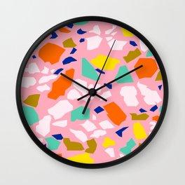 Terrazzo Pattern in Blush Wall Clock