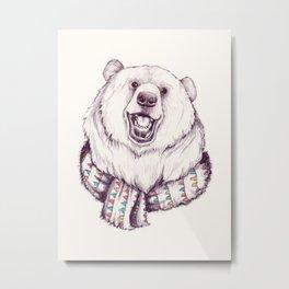 Bear & Scarf Metal Print