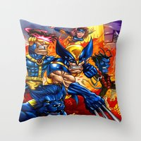 x men Throw Pillows featuring X - MEN by Vincent Trinidad