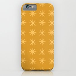 Modern Hand-drawn Minimalist Abstract Stars / Snowflakes Pattern in Golden Hues iPhone Case