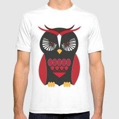 Evil Owl White Mens Fitted Tee MEDIUM
