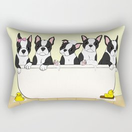 Boston Puppies in a Tub Rectangular Pillow