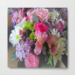 Flower Mix Rose Dianthus Lily Daisy Metal Print
