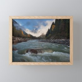 mountain river beautiful forest mountain landscape Dombay North Caucasus Russian Federation Framed Mini Art Print