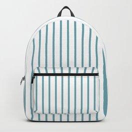 Hydrangea Blue Pinstripe on White Backpack