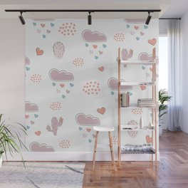 Seamless hand drawn cloud pattern with hearts and clouds Wall Mural