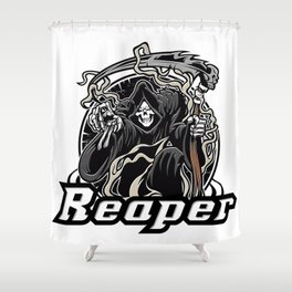 Illustration of grim reaper on white background Shower Curtain