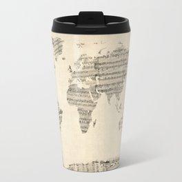 Old Sheet Music World Map Travel Mug