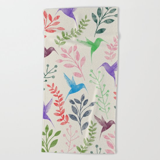 Floral & Birds II Beach Towel