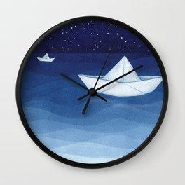 Paper boats illustration Wall Clock