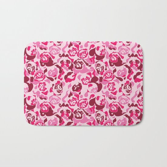 Pug Camouflage Pink Bath Mat