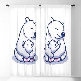 Cute Polar Bear Mom Hugging Baby Polar Cartoon Icon Illustration Animal Family Icon Concept Premium Blackout Curtain