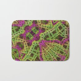 Yellow, green and purple film ribbons Bath Mat