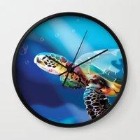 sea turtle Wall Clocks featuring Sea Turtle by Natasha Alexandra Englehardt
