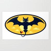 nightwing Art Prints featuring Nightwing by jekonu