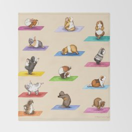 The Yoguineas - Yoga Guinea Pigs - Namast-hay! Throw Blanket