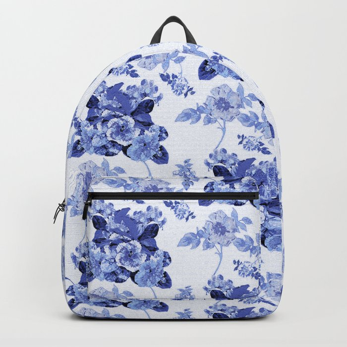 Blue Botanical Toile Backpack