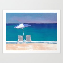 Beach Chair and Parasol on the Beach Art Print