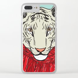 Merry Christmas New Year's card design Tiger head in a red knitted sweater and a scarf. Sketch Clear iPhone Case