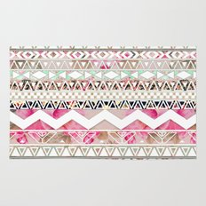 Aztec Spring Time! | Girly Pink White Floral Abstract Aztec Pattern Rug
