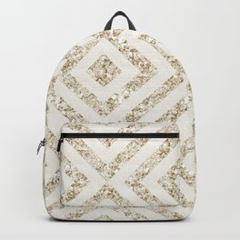 Geometric Abstract With Glitters Champagne Backpack