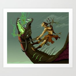 The elf and the dragon Art Print