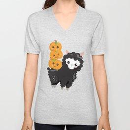 Halloween Sheep Black Sheep with Pumpkins Unisex V-Neck