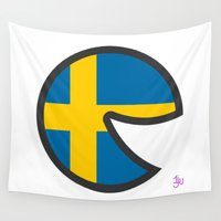 sweden Wall Tapestries featuring Sweden Smile by onejyoo