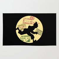 tintin Area & Throw Rugs featuring Run Tintin, Run by ikado