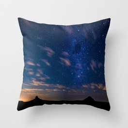 Milky Way over the Glass House Mountains Throw Pillow