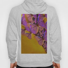Shiny Purple Butterflies On A Ocher Color Background #decor #society6 Hoody