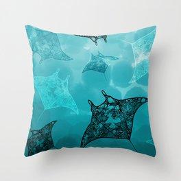Manta frenzy Throw Pillow