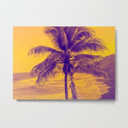 Golden Black Sand Beaches and Palm trees Metal Print