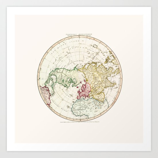Northern Hemisphere- reproduction of William Faden's 1790 engraving Art Print