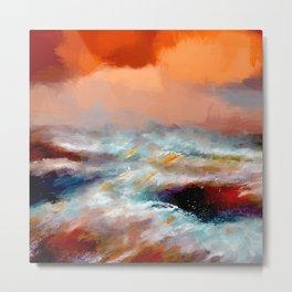 Ocean Waves Abstract Background Metal Print