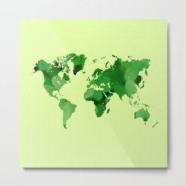 Green world map Metal Print