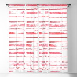simple stamped scarlet stripes Blackout Curtain