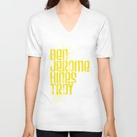 caleb troy V-neck T-shirts featuring Ben Jerome Hines Troy / Black by Brian Walker