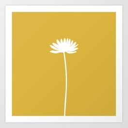 Tall Flower in White and Mustard Yellow. Minimalist Modern Floral Art Print