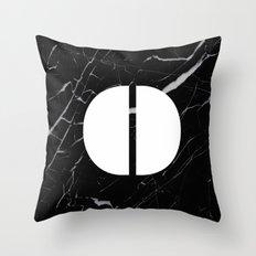 Black Marble - Alphabet O Throw Pillow
