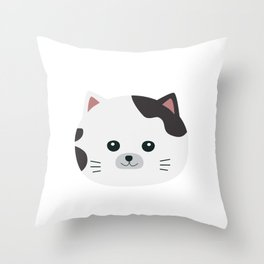White Cat with spotted fur Throw Pillow