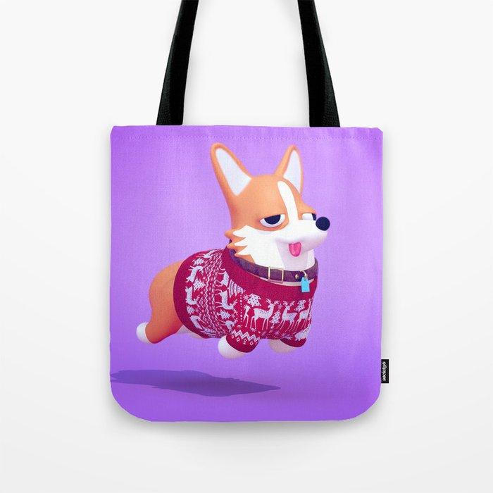 Dogs In Sweaters: Corgi Tote Bag