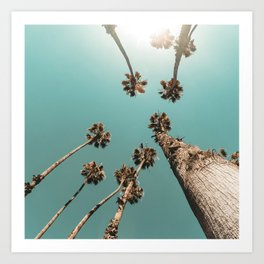 {1 of 2} Palm Trees = Happy // Teal Summer Sky Art Print