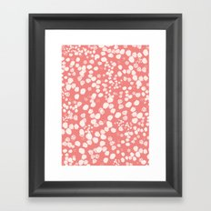 White splashes on pink Framed Art Print
