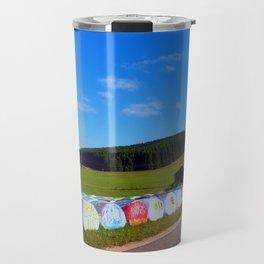 Hayballs along the road | landscape photography Travel Mug