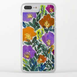hand painted flowers Clear iPhone Case