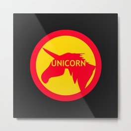 unicorn traffic sign  Metal Print