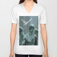angel V-neck T-shirts featuring Angel by Lucia
