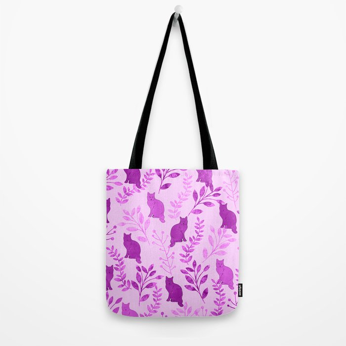 Watercolor Floral and Cat V Tote Bag