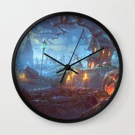 Scary Halloween Haunted House Jack O Lantern Pumpkinhead On Graveyard Wall Clock